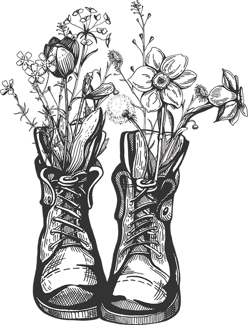 Illustration of boots with flowers in them