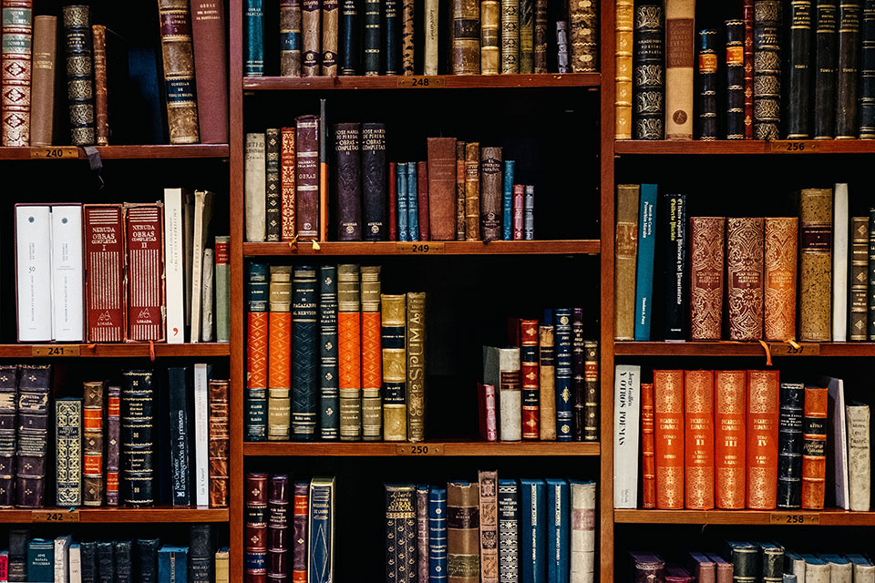 Antique books on shelves