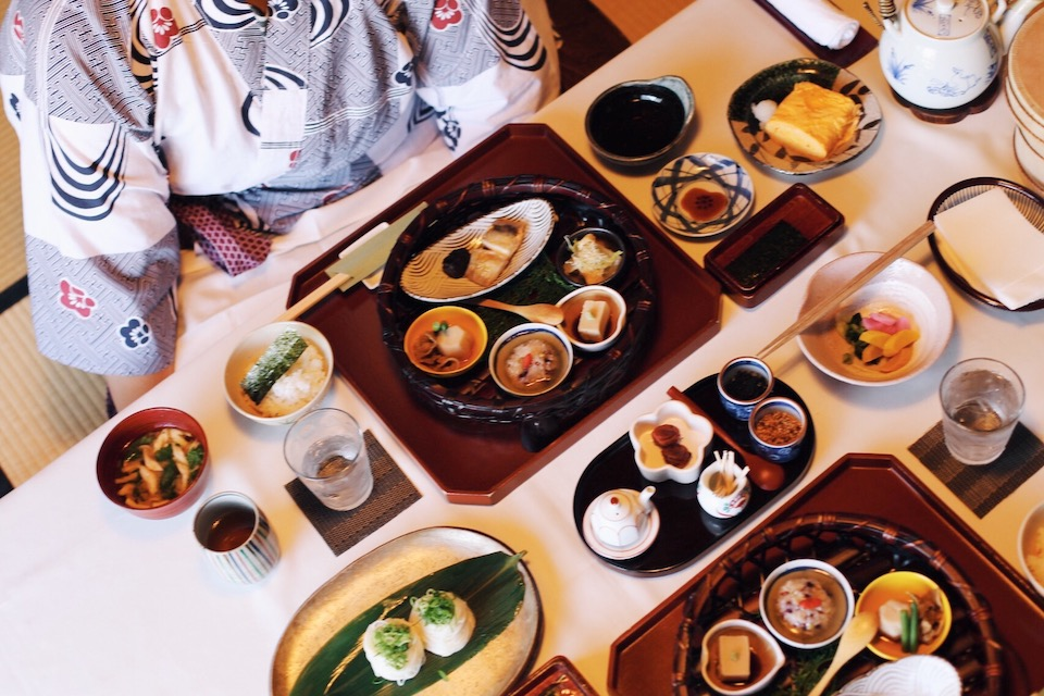 Food is an experience women are willing to splurge on while they travel, like this spread of traditional Japanese breakfast